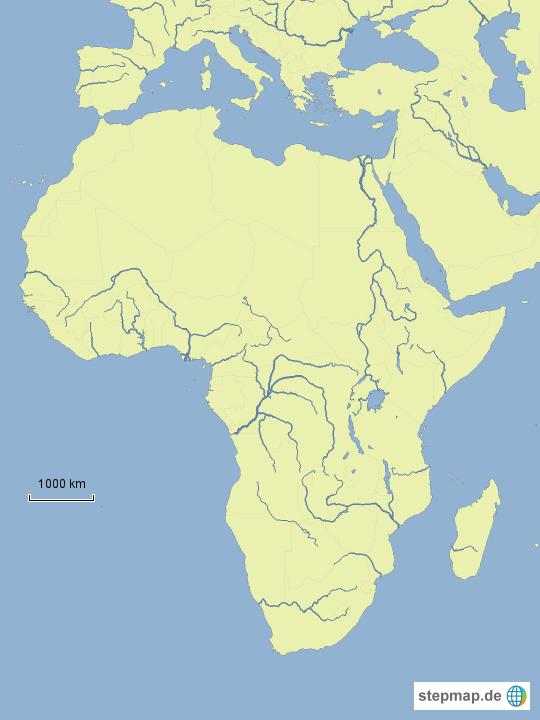 afrika karte flüsse StepMap   Stumme Karte Afrika (Flüsse und Seen)   Landkarte für Afrika afrika karte flüsse