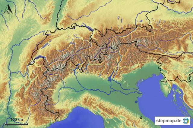 die alpen karte StepMap   Stumme Karte Alpen   Landkarte für Europa die alpen karte
