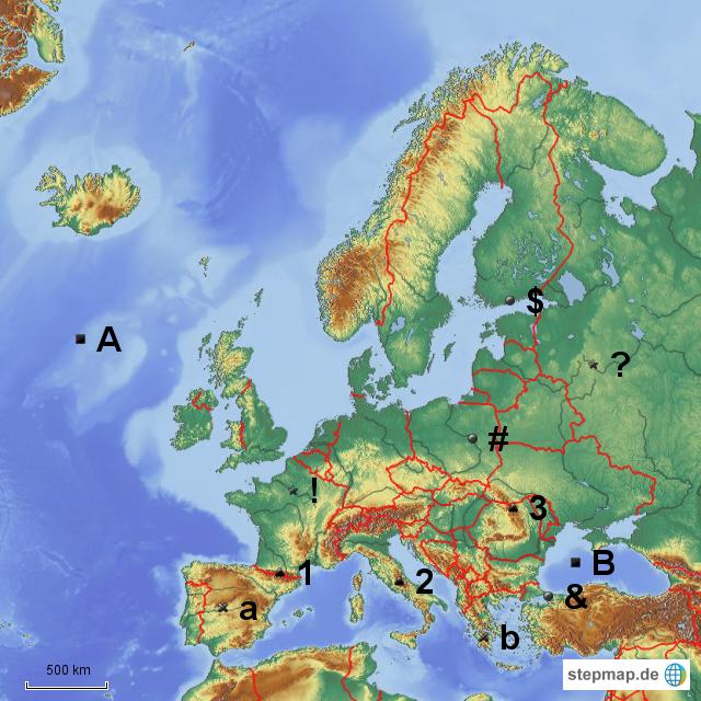 stepmap stumme karte europa meere st dte fl sse gebirge halbinseln landkarte f r. Black Bedroom Furniture Sets. Home Design Ideas