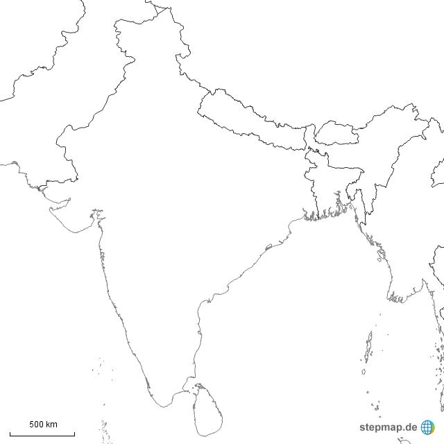 indien stumme karte StepMap   Stumme Karte Indien   Landkarte für Indien