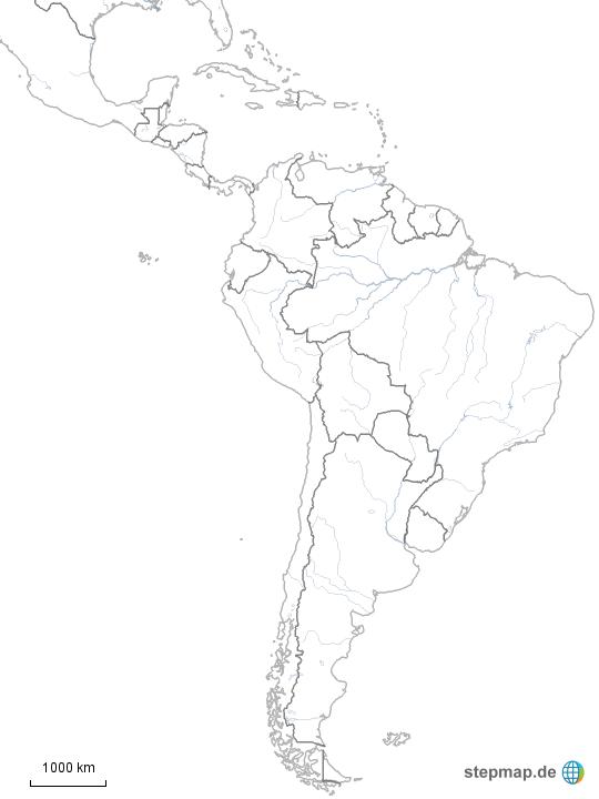 Stumme Karte Lateinamerika.Stepmap Stumme Karte Lateinamerikas Landkarte Fur Sudamerika