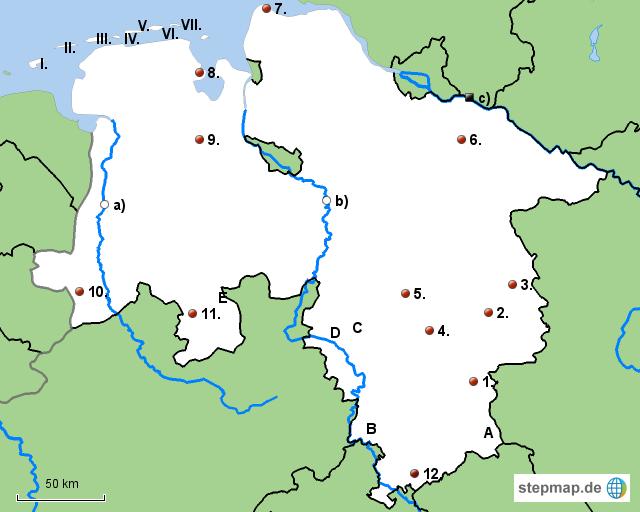 niedersachsen landkarte StepMap   Stumme Karte Niedersachsen   Landkarte für Deutschland niedersachsen landkarte