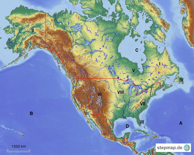 Stumme Karte Nordamerika.Stepmap Stumme Karte Nordamerika Landkarte Für Nordamerika