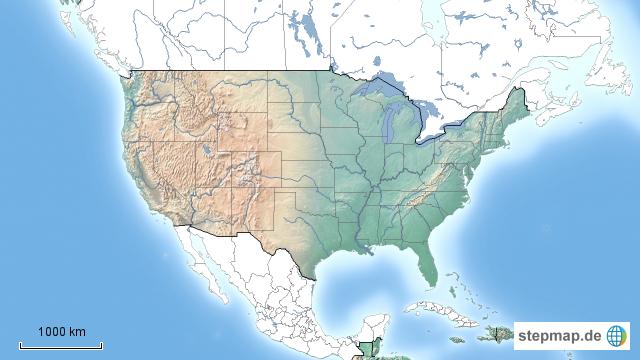 Stumme Karte Nordamerika.Stepmap Stumme Karte Usa Landkarte Für Nordamerika
