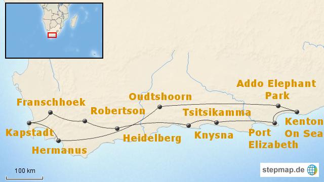 Karte Südafrika Garden Route.Stepmap Südafrika Entdeckungsreise Kapregion Garden Route