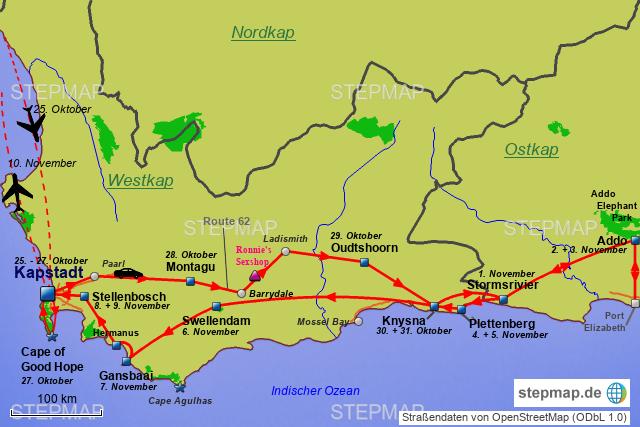 Südafrika Karte.Stepmap Südafrika Garden Route Landkarte Für Südafrika