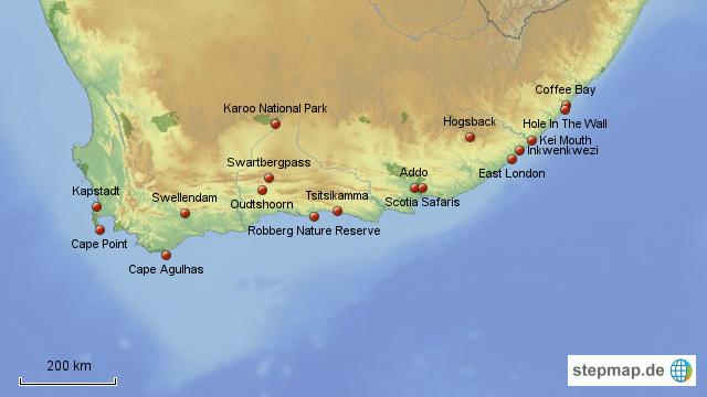 Karte Südafrika Garden Route.Stepmap Südafrika Garden Route 2 Landkarte Für Südafrika