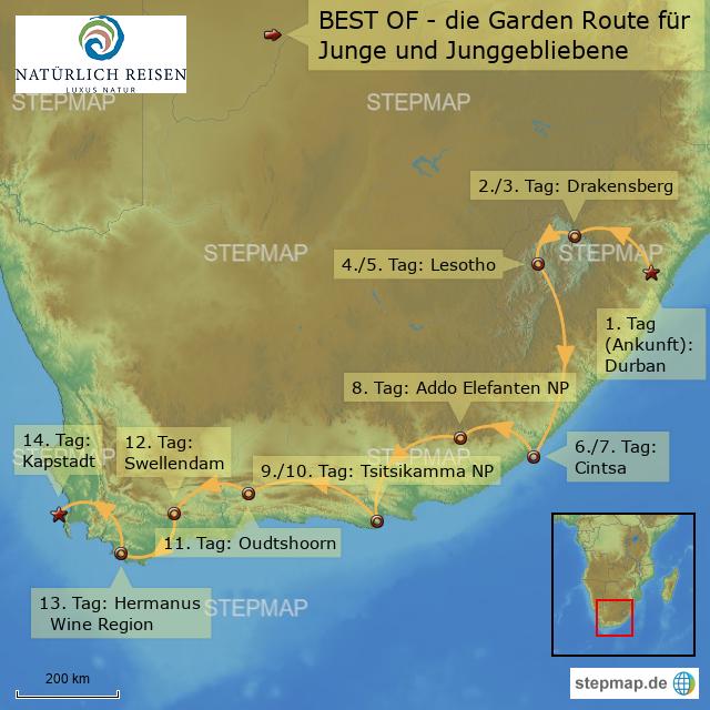 Karte Südafrika Garden Route.Stepmap Südafrika Garden Route Adventure Landkarte Für Afrika