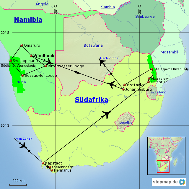 Karte Südafrika.Stepmap Südafrika Namibia Landkarte Für Afrika