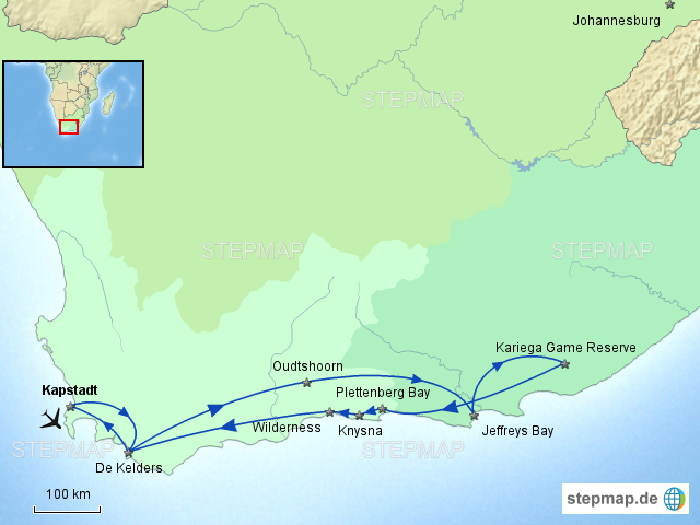 Karte Südafrika Garden Route.Stepmap Südafrika Urlaub 2012 Garden Route Landkarte Für Südafrika