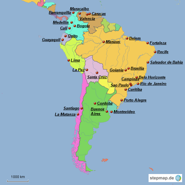 Südamerika Karte Länder.Stepmap Südamaerika Millionenstädte Landkarte Für Südamerika
