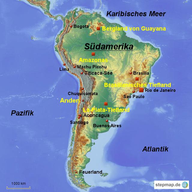 Stepmap Sudamerika Landkarte Fur Sudamerika