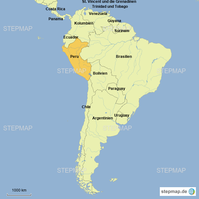 Peru Karte Südamerika.Stepmap Südamerika Landkarte Für Peru