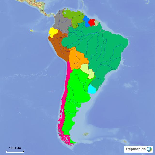Südamerika Karte Länder.Stepmap Südamerika Länder Landkarte Für Südamerika