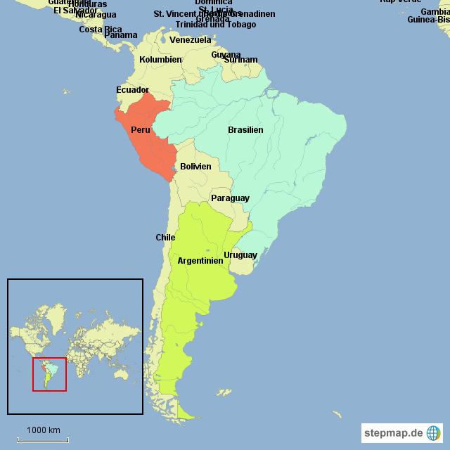 Peru Karte Südamerika.Stepmap Südamerika Peru Landkarte Für Südamerika