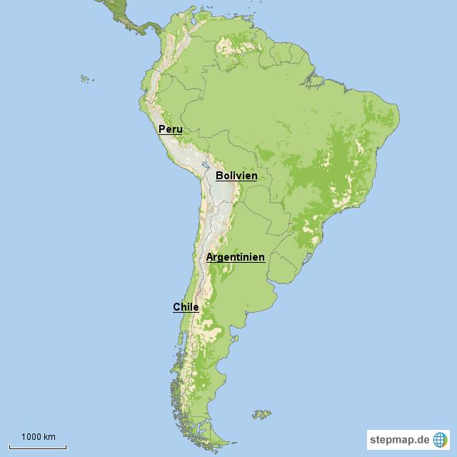 Peru Karte Südamerika.Stepmap Südamerika Peru Bolivien Chile Argentinien