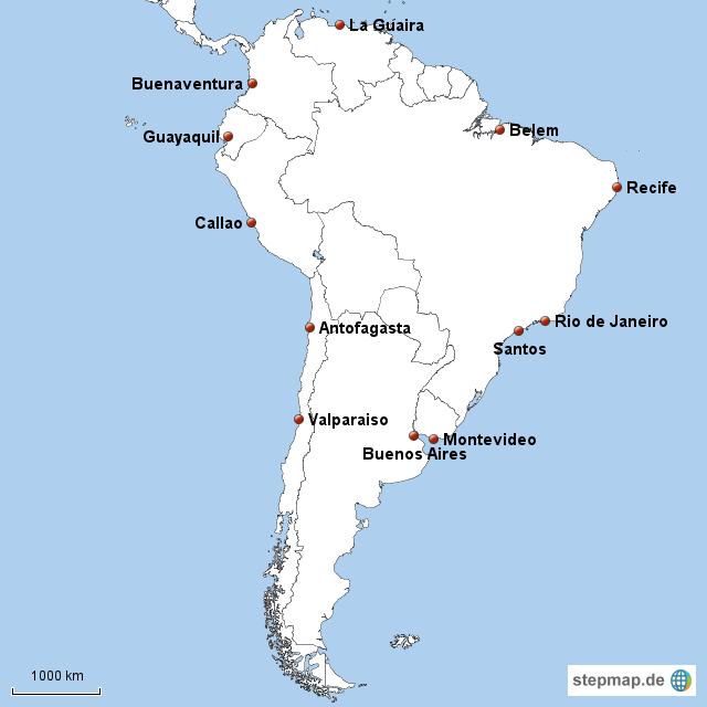 Südamerika Karte Ohne Beschriftung.Stepmap Südamerika Seehäfen Beschriftet Landkarte Für Südamerika
