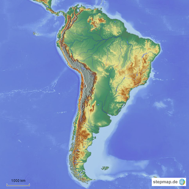Südamerika Karte Ohne Beschriftung.Stepmap Südamerika Physisch Landkarte Für Südamerika