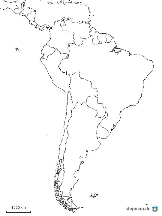 landkarte schwarz weiß StepMap   Südamerika schwarz weiß   Landkarte für Südamerika landkarte schwarz weiß