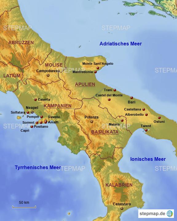 süditalien karte StepMap   Süditalien   Landkarte für Italien