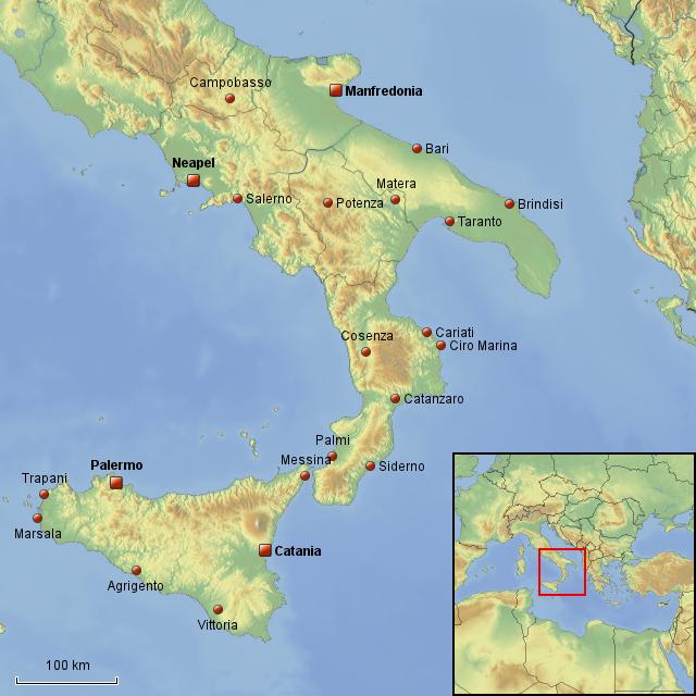 süditalien karte StepMap   Süditalien und Sizilien   Landkarte für Italien