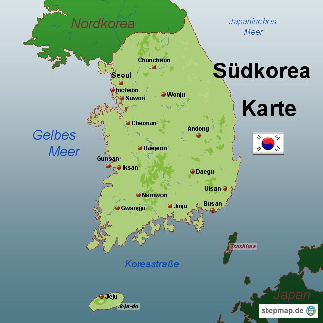 Südkorea Karte.Stepmap Südkorea Karte Landkarte Für Südkorea