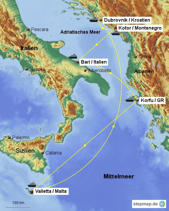 Italien Obere Adria Karte.Stepmap Sudliche Adria Mittelmeer Landkarte Fur Europa