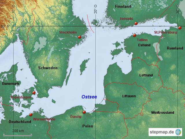 Ostsee Deutschland Karte.Stepmap Sudliche Ostsee Landkarte Fur Deutschland