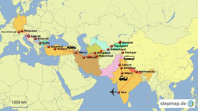 StepMap - Südliche Seidenstraße - Indien - Nepal - Landkarte für ...