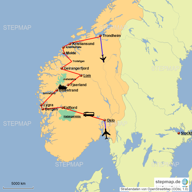 Karte Südnorwegen.Stepmap Südnorwegen Landkarte Für Norwegen