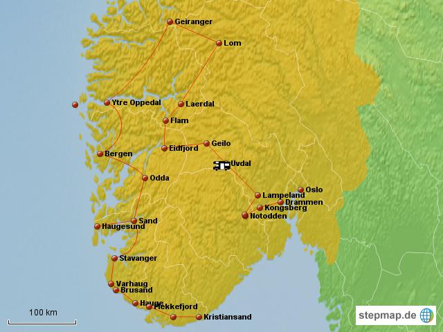 Karte Südnorwegen.Stepmap Südnorwegen übersicht Landkarte Für Norwegen