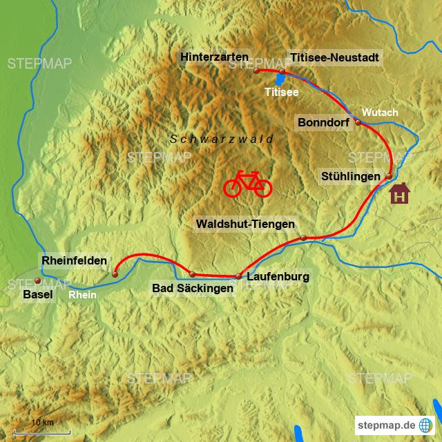 Südschwarzwald Karte.Stepmap Südschwarzwald Radweg 2018 Landkarte Für Deutschland
