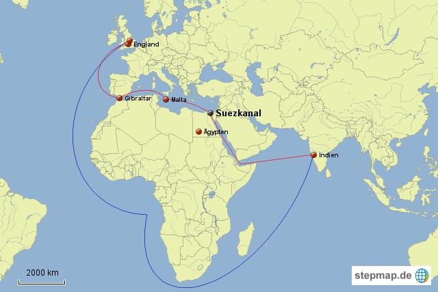 Kanal Zwischen Afrika Und Asien