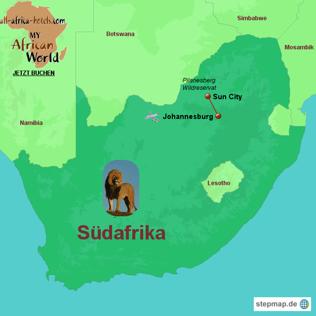 Stepmap Sun City Rundreise Sudafrika Landkarte Fur Sudafrika