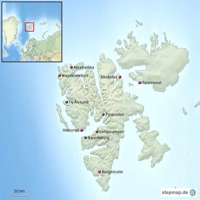 StepMap - Svalbard - Landkarte für Norwegen
