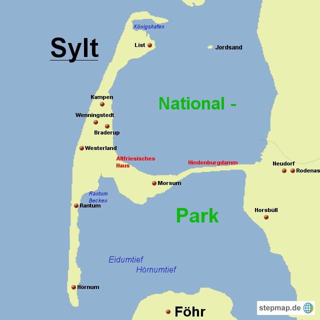 Karte Von Sylt.Stepmap Sylt Landkarte Für Deutschland