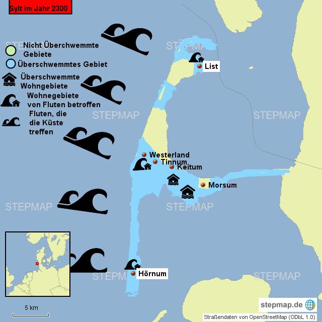 Karte Von Sylt.Stepmap Sylt Im Jahr 2300 Landkarte Für Deutschland