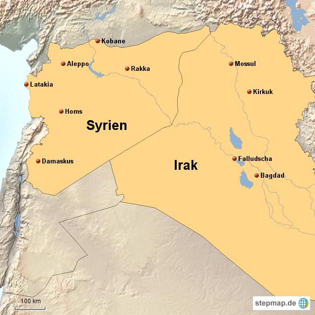 Syrien Irak Karte.Stepmap Syrien Irak Is Landkarte Fur Afrika