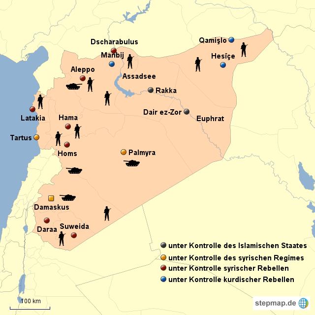 Syrien Karte Krieg.Stepmap Syrien Im Bürgerkrieg Landkarte Für Syrien