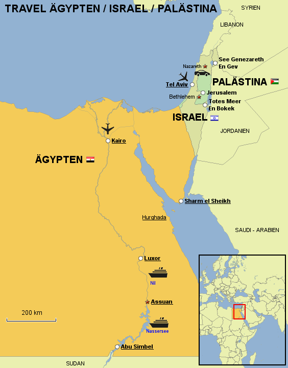 StepMap - TRAVEL ÄGYPTEN/ISRAEL/PALÄSTINA - Landkarte für