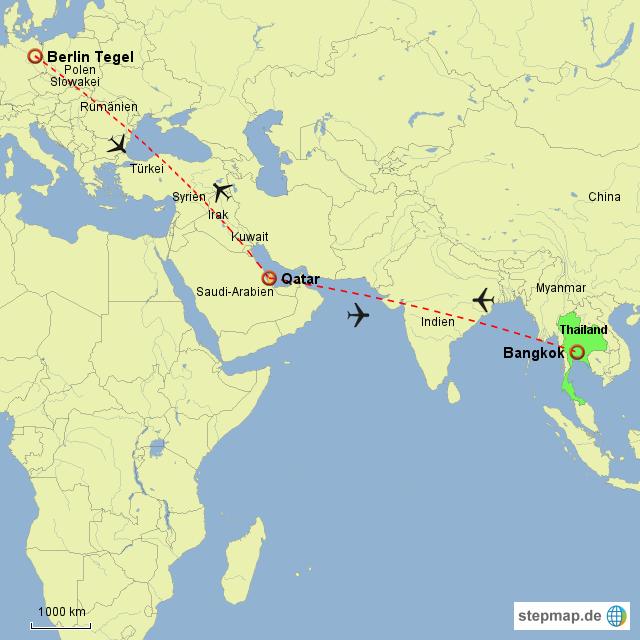 Doha Karte Welt.Stepmap Txl Via Doha Nach Bangkok Landkarte Fur Welt