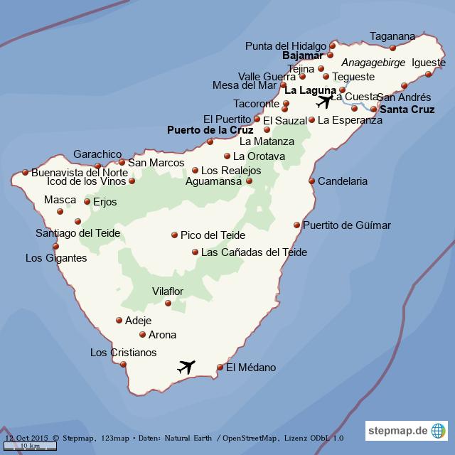 Teneriffa Karte.Stepmap Teneriffa Orte Landkarte Fur Welt