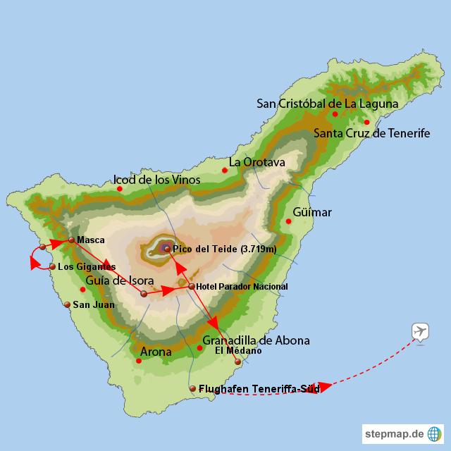 Teneriffa Karte Spanien.Stepmap Teneriffa Trekking Tour Zum Pico Del Teide 3 719 M