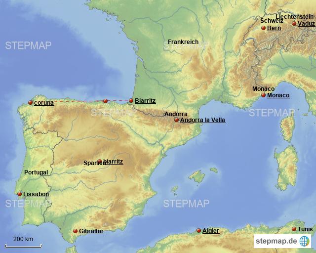 stepmap testversion southwest of europe landkarte f r spanien. Black Bedroom Furniture Sets. Home Design Ideas
