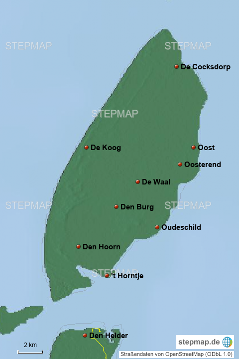 Karte Texel.Stepmap Texel Landkarte Für Niederlande