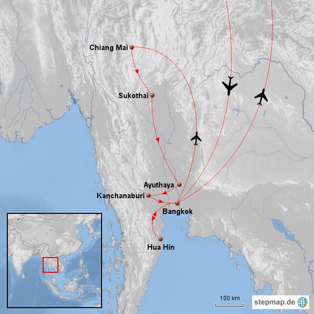 Thailand Karte Welt.Stepmap Thailand Landkarte Für Welt