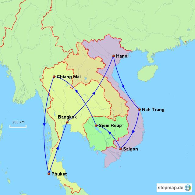 Karte Thailand Kambodscha.Stepmap Thailand Kambodscha Vietnam Landkarte Für Asien