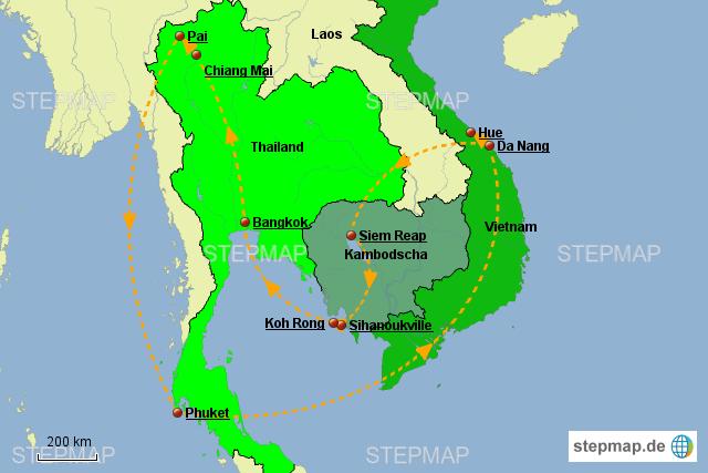 Karte Thailand Kambodscha.Stepmap Thailand Kambodscha Vietnam 2017 Landkarte Für Asien