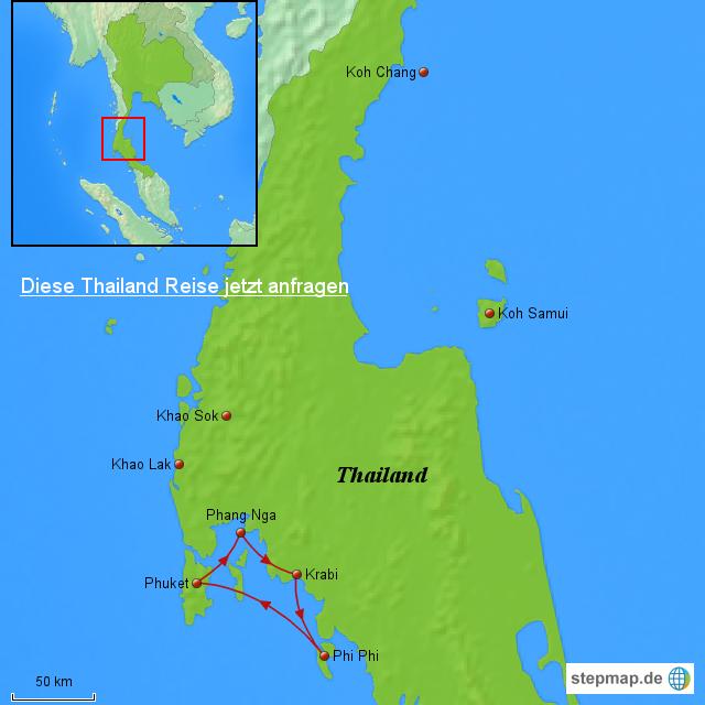 thailand karte phuket StepMap   Thailand Karte: Segellkreuzfahrt Phuket   Landkarte für  thailand karte phuket