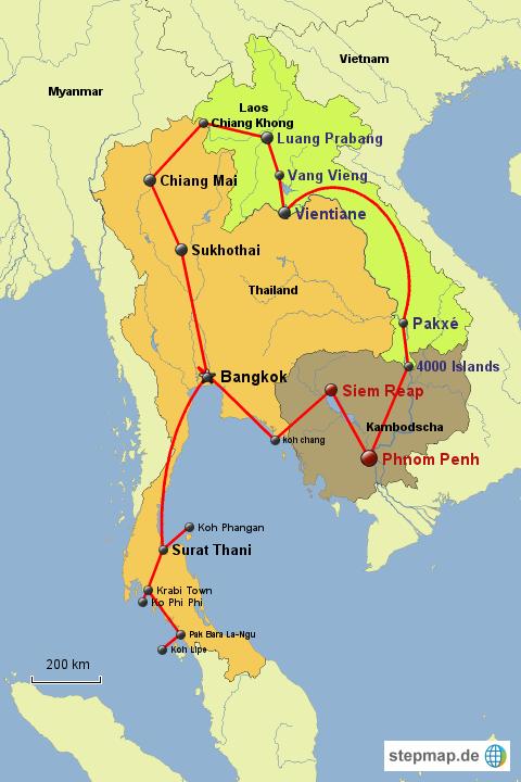 Karte Thailand Kambodscha.Stepmap Thailand Laos Kambodscha Landkarte Für Asien